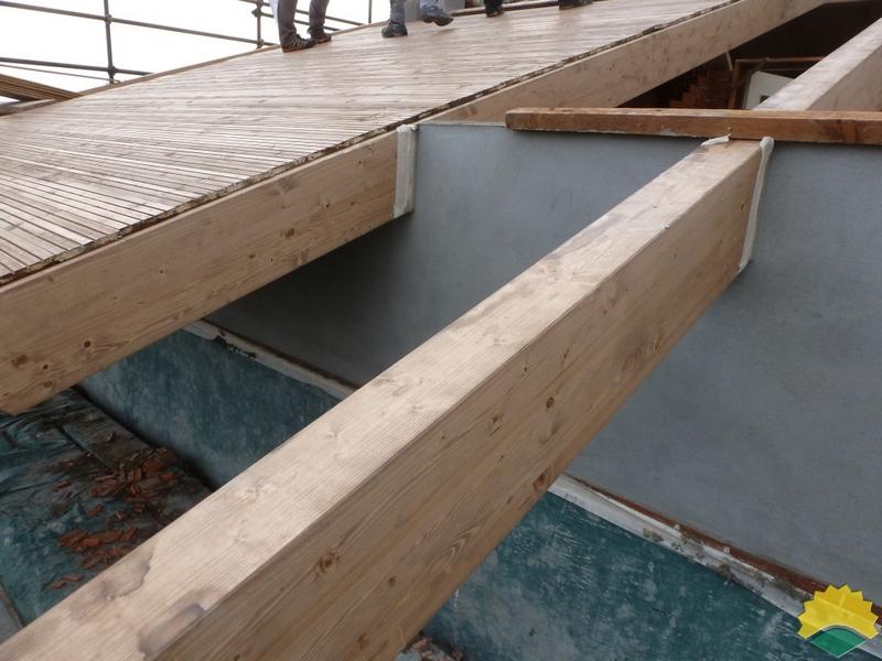 Rifacimento copertura con tetto ventilato in legno lamellare, recupero del sottotetto , nuovo ...